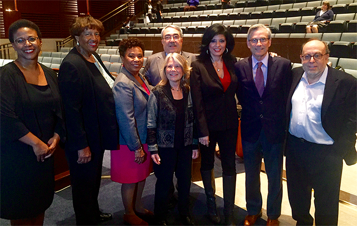 Congressional Black Caucus, April 14, 2016. NBPC Executive Director Leslie Fields-Cruz; Lorraine Bradley; Congressmember Barbara Lee; Congressional Black Caucus Chairman G.K. Butterfield; Lyn Goldfarb; Alison Sotomayor; NEH Chairman William Adams; and Editor of  The American Prospect  Harold Meyerson.