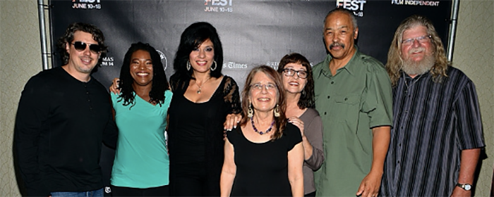 Los Angeles Film Festival World Premiere, June 14, 2015. Graphics designer Randy Kubaszak, researcher Toni Bell, Alison Sotomayor, production manager Patricia Cunliffe, Lyn Goldfarb, composer Stephen James Taylor, and editor Stosh Jarecki.