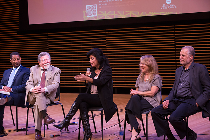 Jackie Robinson Arts & Humanities Lecture Series, October 15, 2015. Christopher Jimenez y West, Pasadena City College history professor and key academic advisor to the film; Alberto Juarez, Pasadena City College adjunct professor of Chicano/a Studies & Political Science; Alison Sotomayor; Lyn Goldfarb; Raphael Sonenshein, Executive Director of the Pat Brown Institute for Public Affairs, CSULA and key academic advisor to the film.