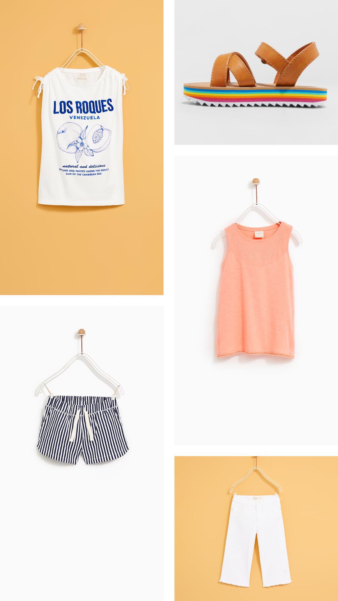 "Top Left:  ""Los Roques"" T-shirt   Bottom Left:  Plush Bermuda Shorts   Top Right:  Cat & Jack Rainbow Platform   Top Mid:  Embroidered Sleeveless Top   Bottom Right:  Culottes with Frayed Hems"