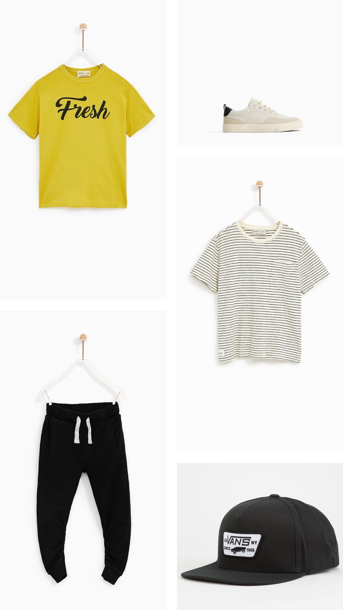 Top Left:  Neon Slogan Shirt   Bottom Left:  Pants with Gathered Hem   Top Right:  Micro-Perforated Sneakers   Mid Right:  Striped T-shirt with Pocket   Bottom Right:  Boys Vans Hat (similar)