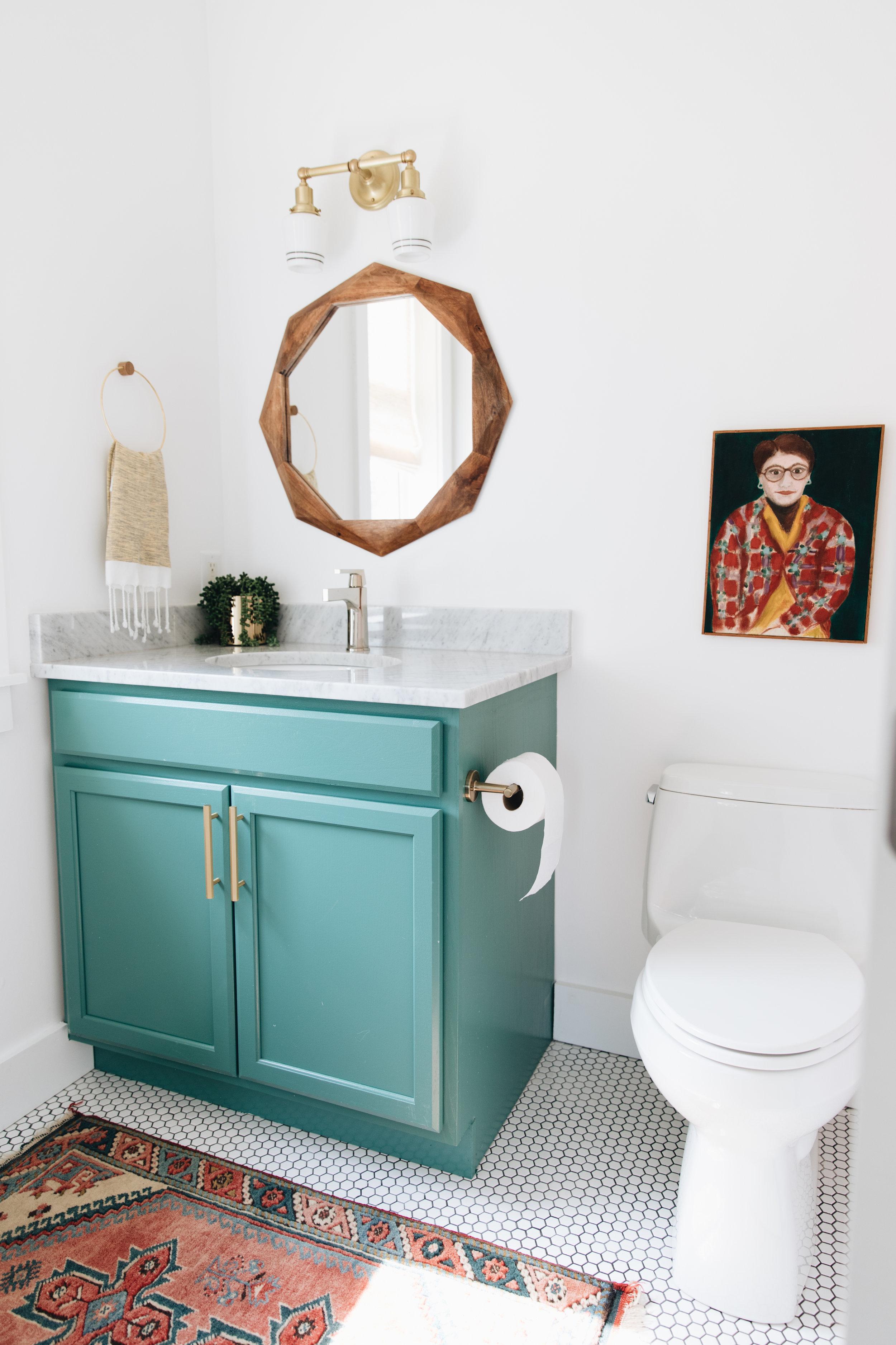 Sconces    Brass Handles    Floor Tile    Hand Towels
