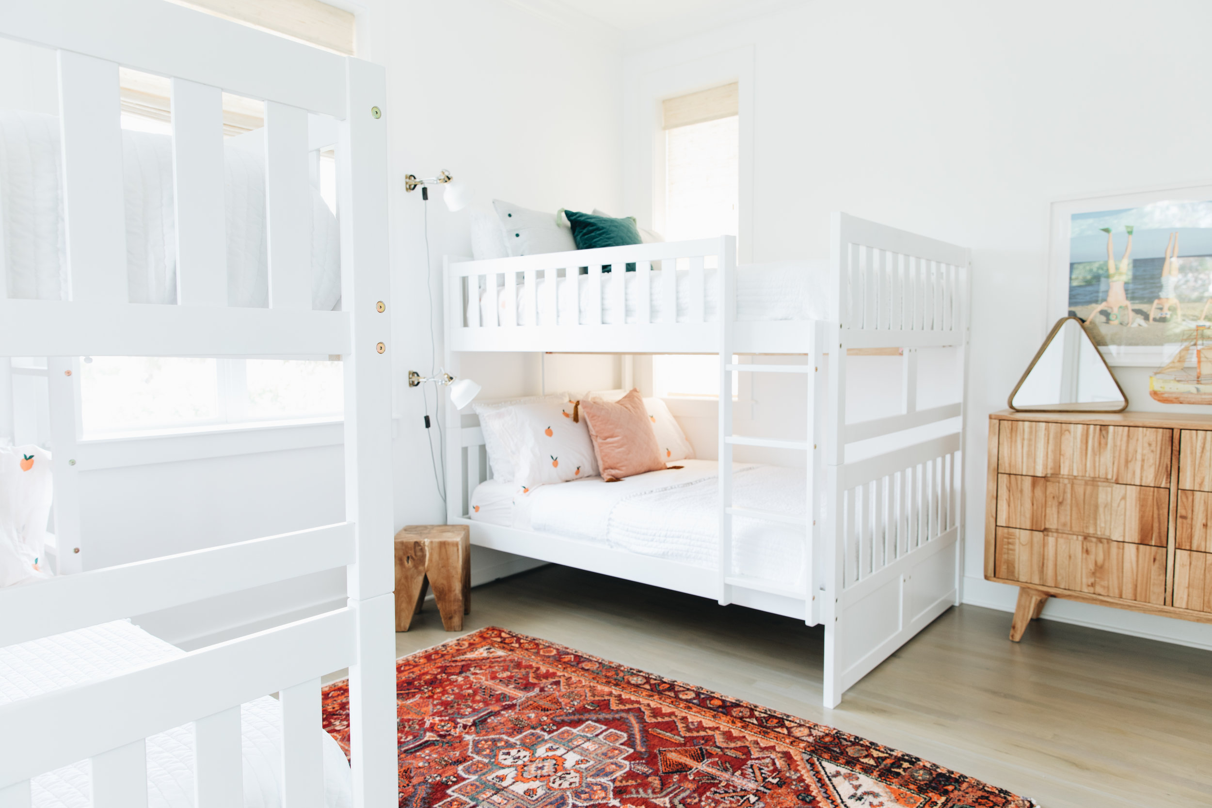 Bunk Beds    Duvets    Clementine Sheets (Similar)    Wood Block Stool