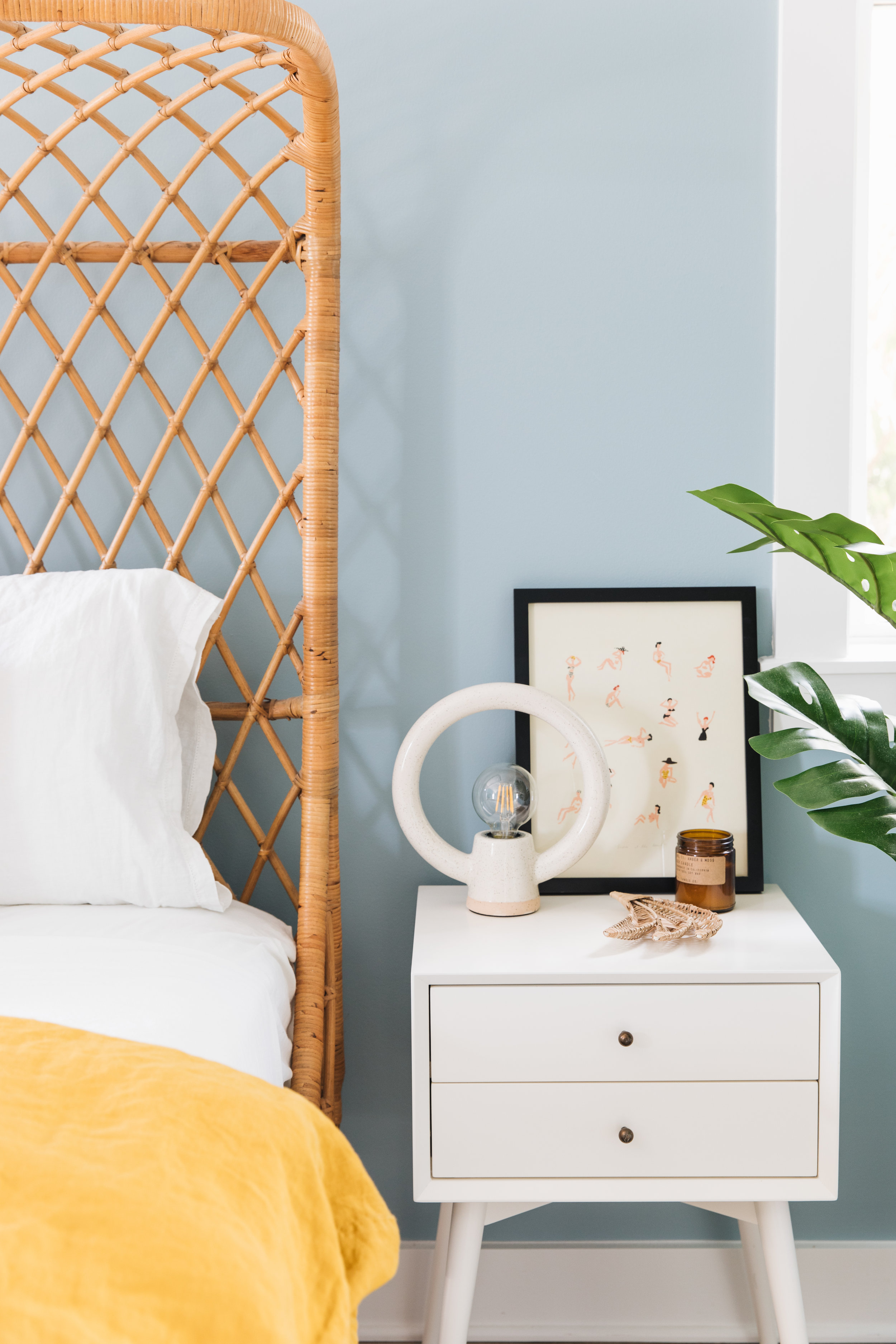 Bedside Table    Table Lamps (sold out, but similar)    Plant