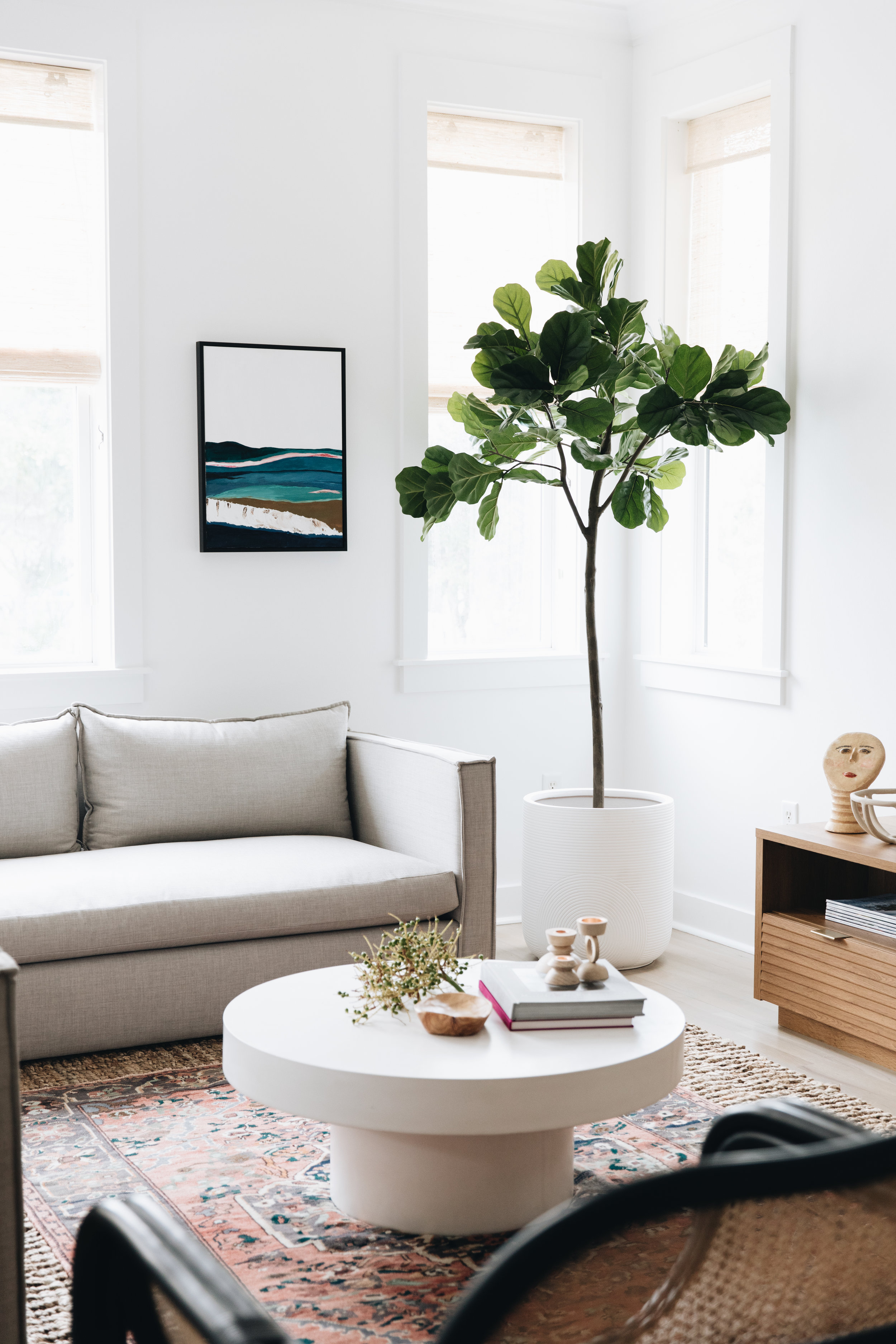 Sofa (custom from Clad Home)    Faux Fiddle Leaf    Coffee Table (Sold Out, Similar)    Wood Bowl    Planter