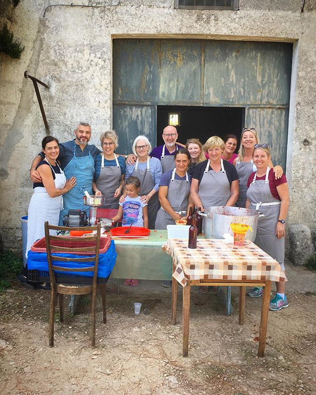Many hands can turn 100 kilos of tomatoes into bottled tomato sauce in no time flat. So much love and thanks to everyone in our group that was an integral part of this beautiful late summer, Puglian ritual. Tomato sauce for all! Day three of our Preserving Puglia Workshop. xo