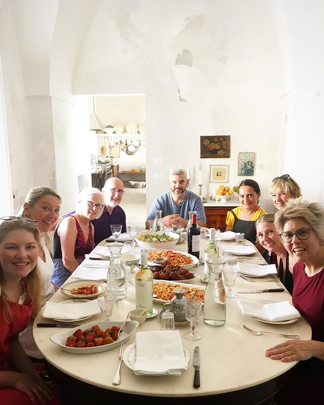 Everyone at the table! We spent the day cooking together and also working on the frescos in our dining room in Oria. A beautiful lunch of homemade orecchiette con sugo followed by a swim in the Ionian Sea. A lovely way to spend our sixth day together on our Preserving Puglia workshop. xo