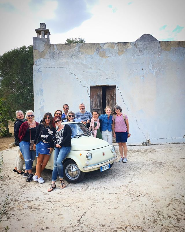 On our last day together we took our group to our country house to visit our tiny grove of olive trees. We tasted our very own oil made from fruit of the trees under which we sat. Then all 12 of us got in our Fiat 500 and drove home for a farewell dinner at the Oria apartment! xo #preservingpuglia #justkiddingabout12peopleinthefiat500