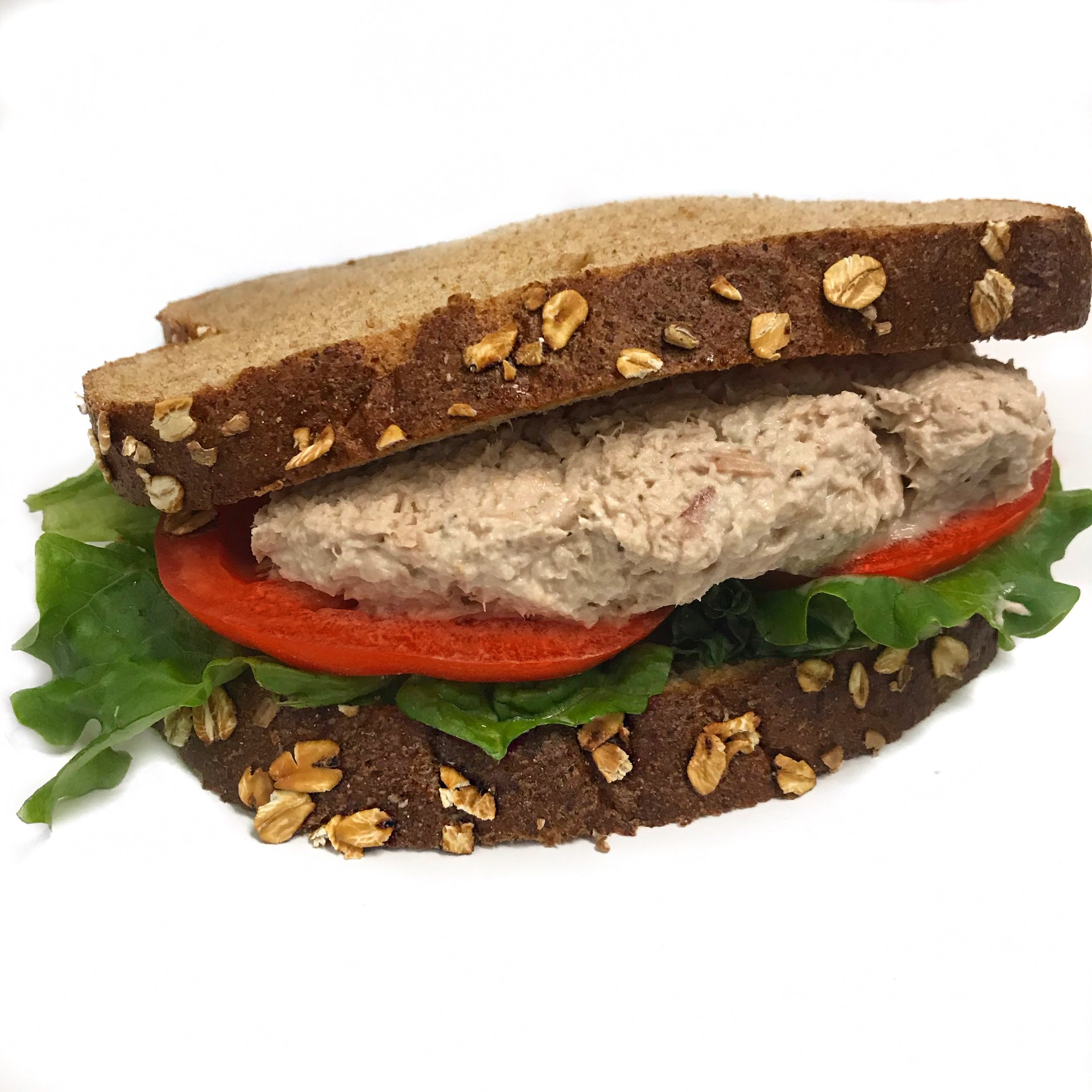 Tuna Salad Sandwich    Homemade Tuna Salad, Lettuce, Tomato on Rustic Whole Wheat