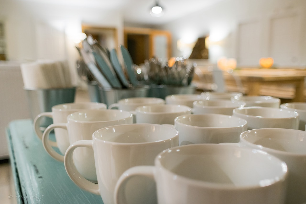 Hot tea and coffee   Always available throughout the day while you're here.