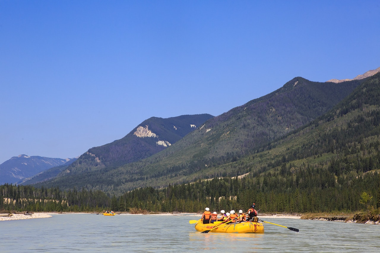 A sunny float on the Kicking Horse River in Golden BC