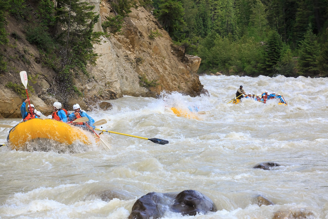 Whitewater in the middle canyon of the Kicking Horse River
