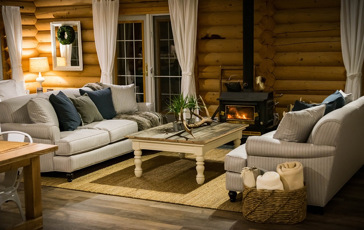 Relax by the fire at Whitewater Lodge