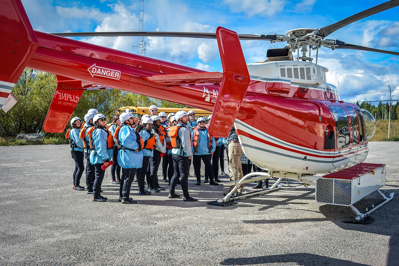 Safety chat before boarding the heli