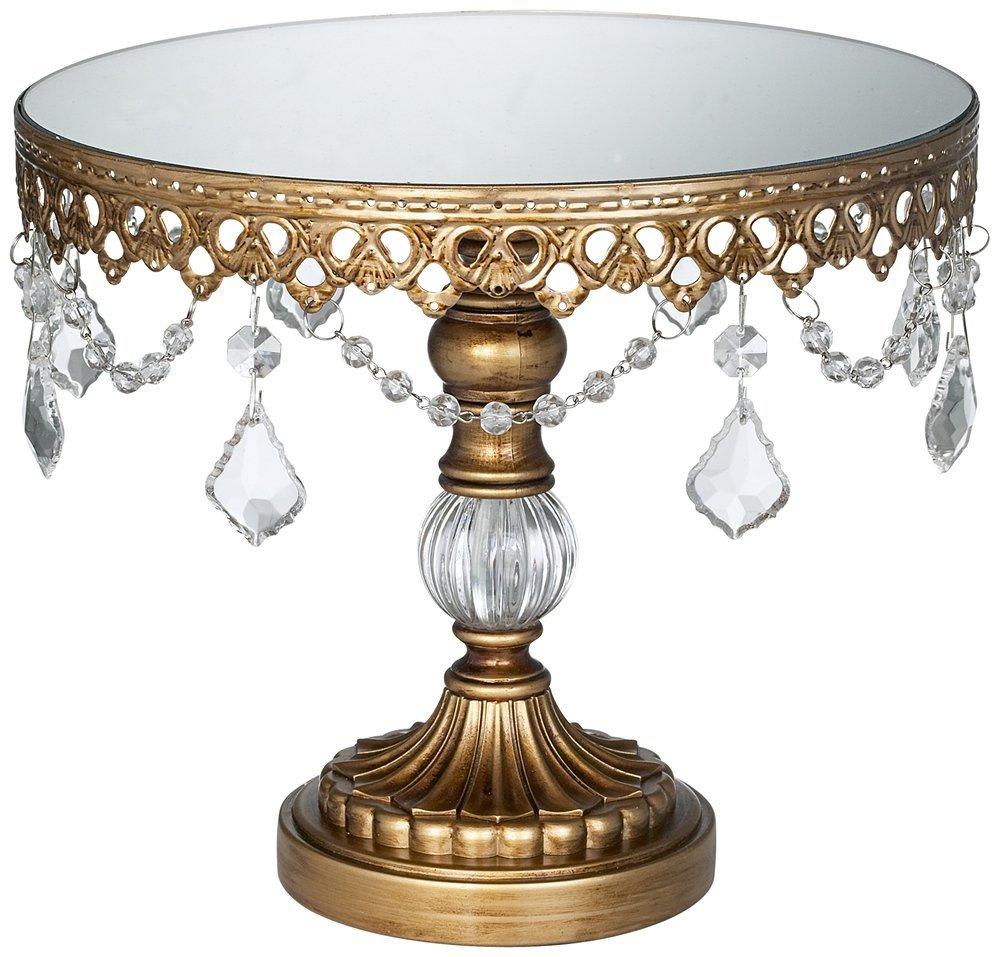 antique gold cryhstal mirro top 8 .5x10 round cake stand.jpg