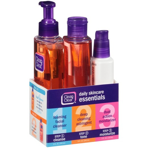 This is one of the face wash products that I use. This 3pc set is great to help combat breakouts. I will wash my face at least 5 times a week using step 1 & 2 (I personally do not care for the moisturizer). I have noticed that my trouble area is around my chin because I have small pimples and I use this to try and prevent them from happening.  I heard about this system on YouTube and you can find several reviews and made the decision to purchase since it was only $12. Here is a link where you can find the product and its details:https://www.walmart.com/ip/Clean-Clear-Daily-Skincare-Essentials-3-Items/40713160