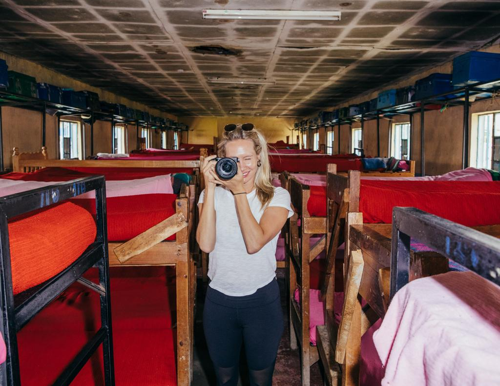 Adam Amengual captured me filming at MagoMano Girls School.