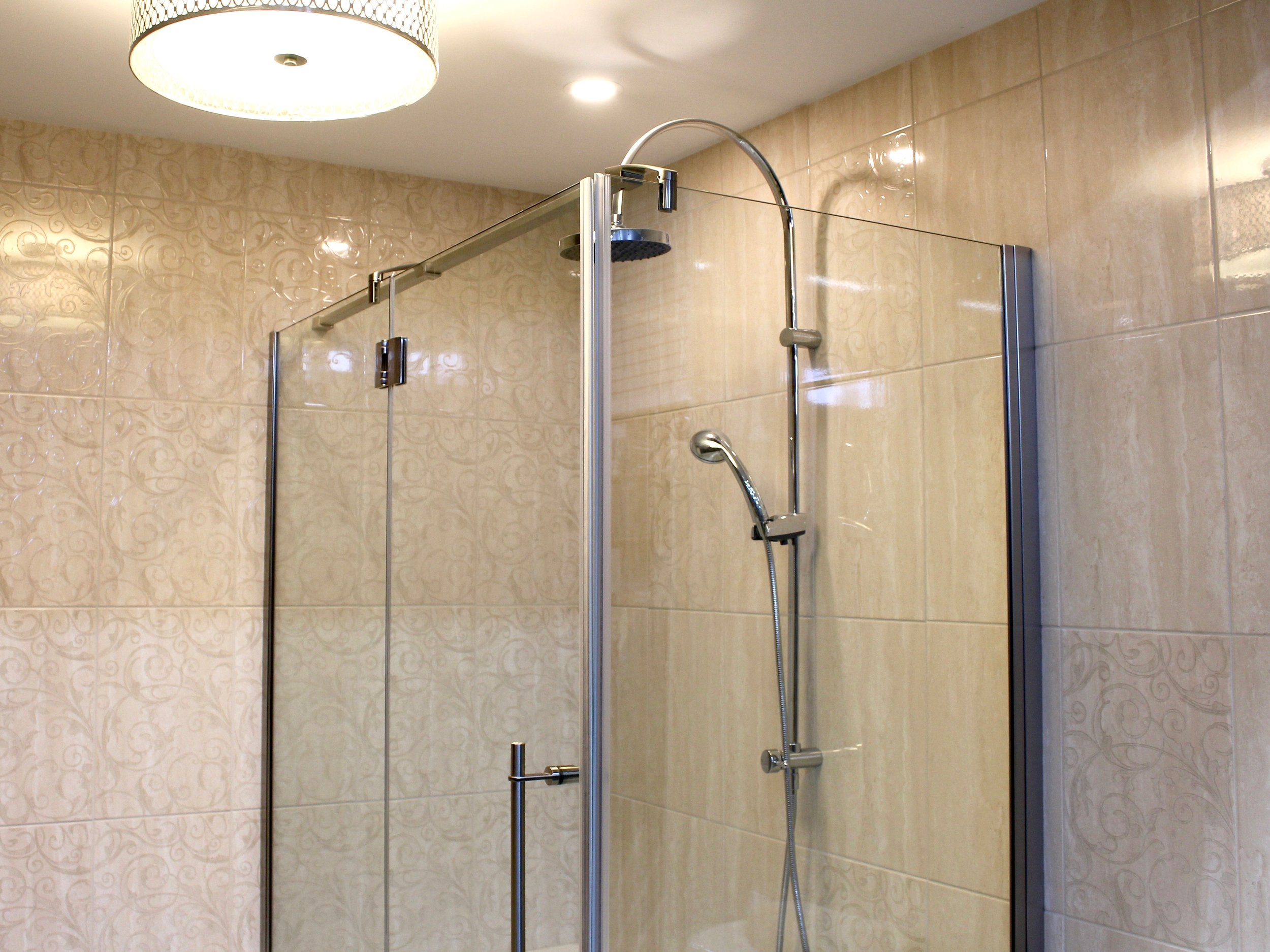 Glass Shower Stall with Combination Shower Head & Rail