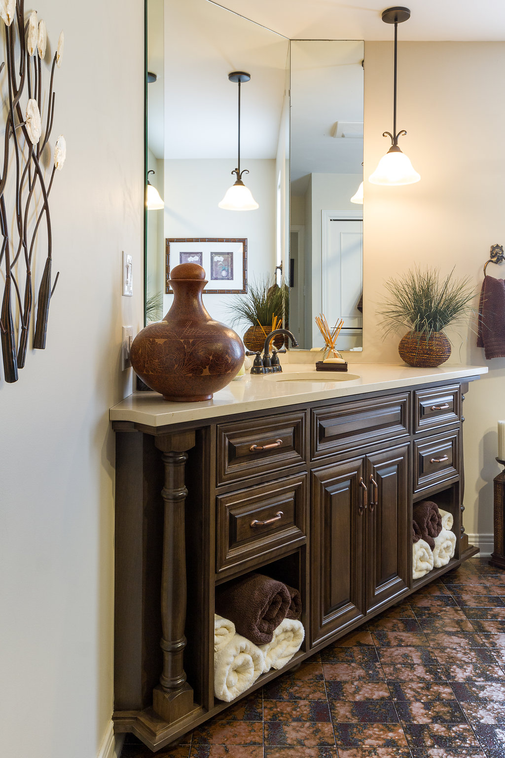 Corner Vanity with Custom Cabinetry