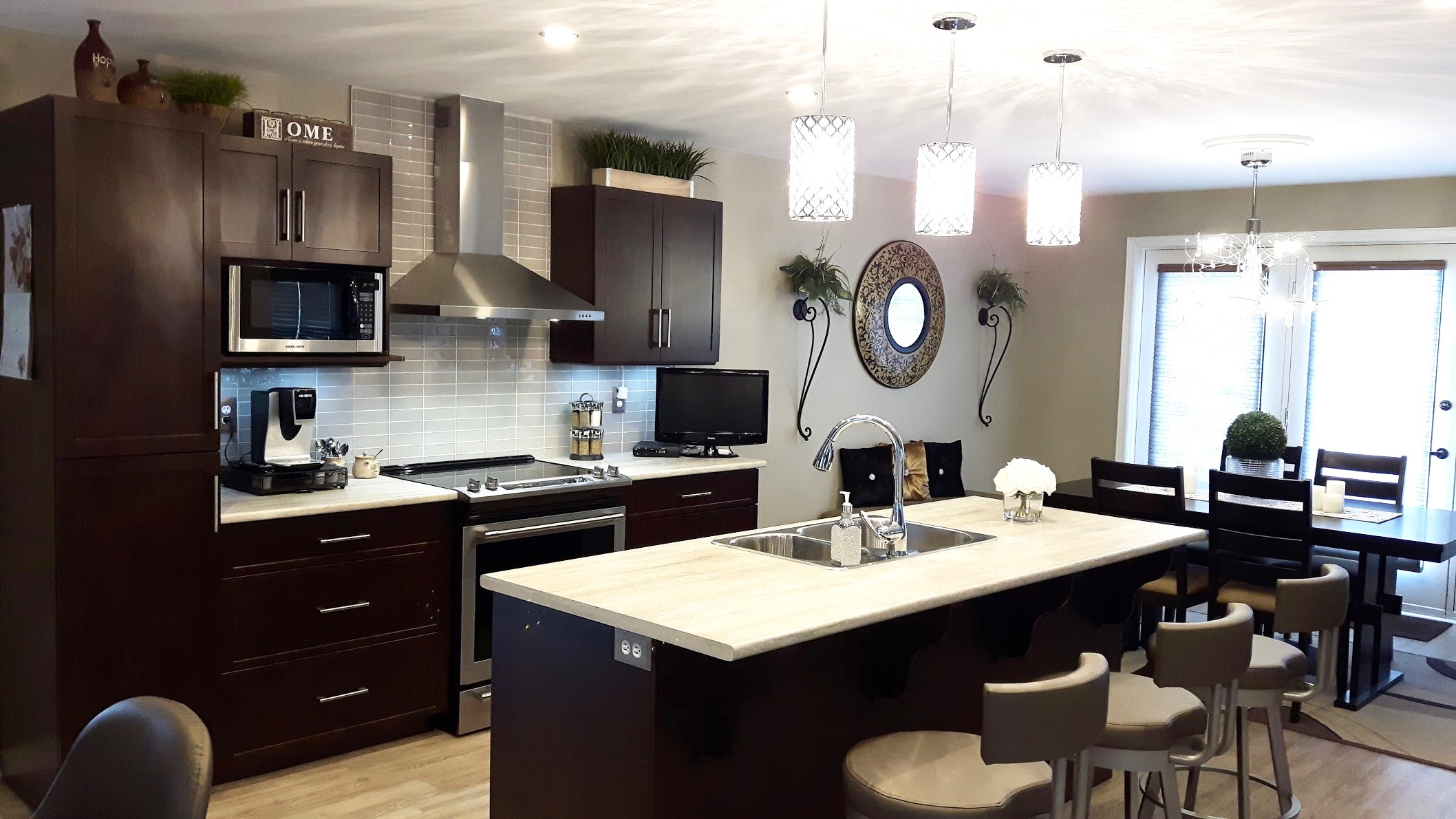 Full kitchen remodel with flooring, cabinets, countertops, and backsplash