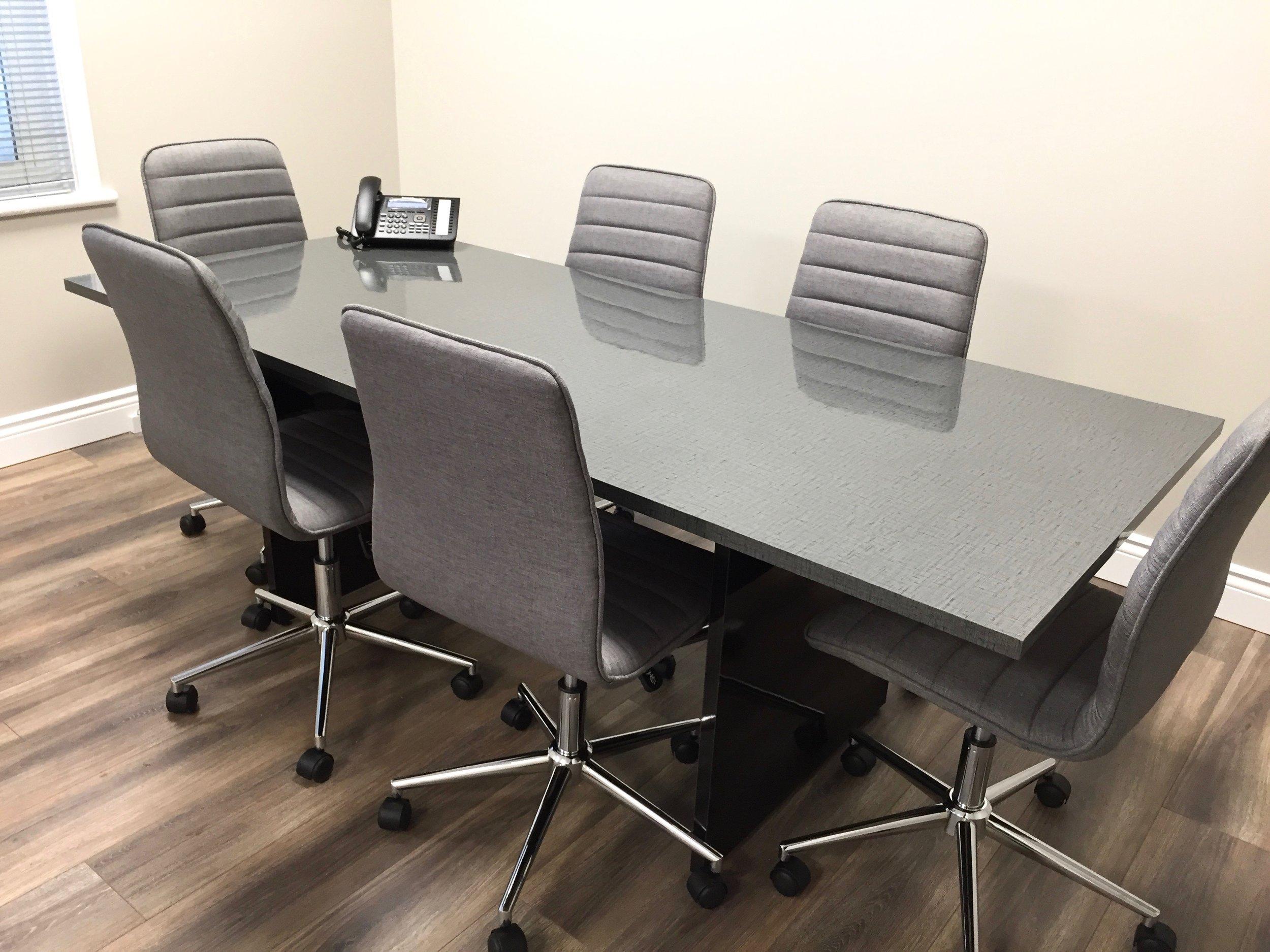 Custom laminate cover for office desk