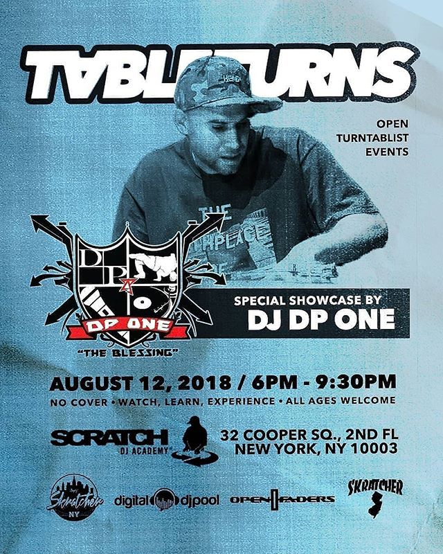 "Regrann from @tableturnsworld -  This Sunday!! 8.12.18! l  l Tableturns is back this month with an extra special showcase featuring one of our faves, The Heavy Hitter DP One aka ""The Blessing"" @djdpone l  l 6p - 9:30p at Scratch Academy 32 Cooper Square 2nd fl NYC l  l never a cover and all ages - showcases, scratch sessions, merch, network l  l powered by @digitaldjpool @openfaders @scratchnyc @skratchernewjersey @skratcherny l  l #turntablist #turntable #tablist #turntablism #hiphop #scratchdj #beatjuggler #beatjuggle #beatjuggling #ranedj #technics #dj #djlife #djbattle #battledj #music #turntablemusic #djcommunity #realdjing #futuremusic - #regrann"