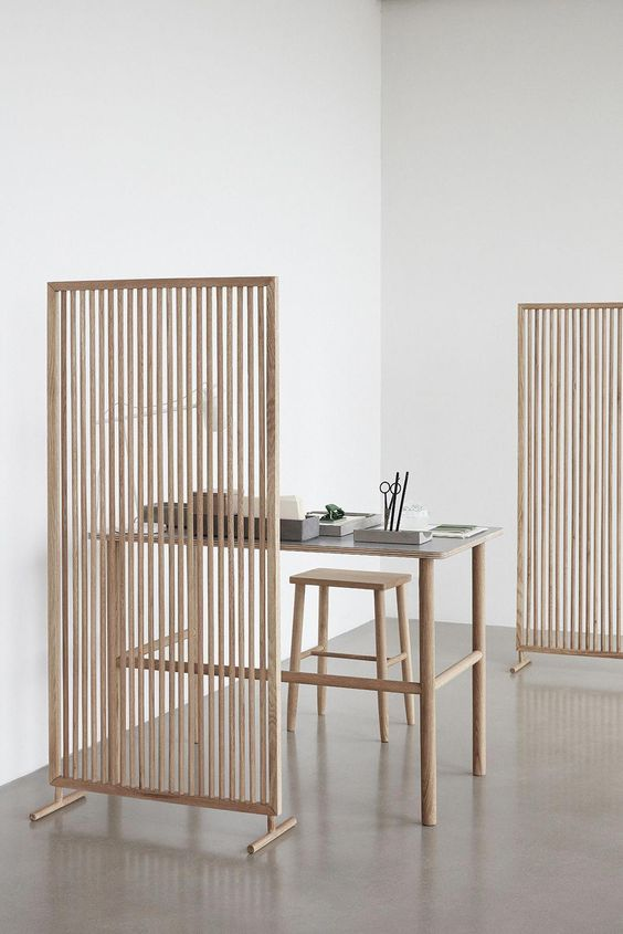 Use wood to create eco-friendly spaces for a healthier, easier living. This divider creates a room inside an existing room without separating light and furniture placement between enclosed spaces. Designed and Manufactured in Denmark. Material: Solid White Oak Body and Structure
