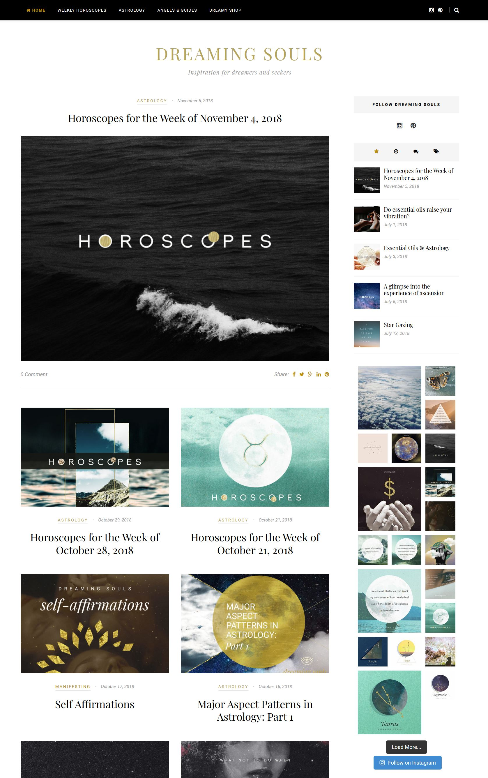 Astrology & Horoscope Website Design - Created this site from scratch - from buying the domain name to creating affiliate accounts.  Designed all artwork on site and sourced writers for Astrology & spiritual content.