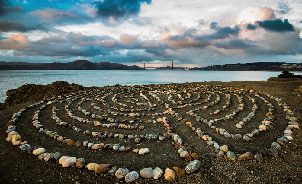 The Land's End Labyrinth in San Francisco, with the Golden Gate in the background