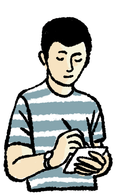 This is a drawing of a young white guy, but we are of course open to whatever color, gender, nationality and age you might be.