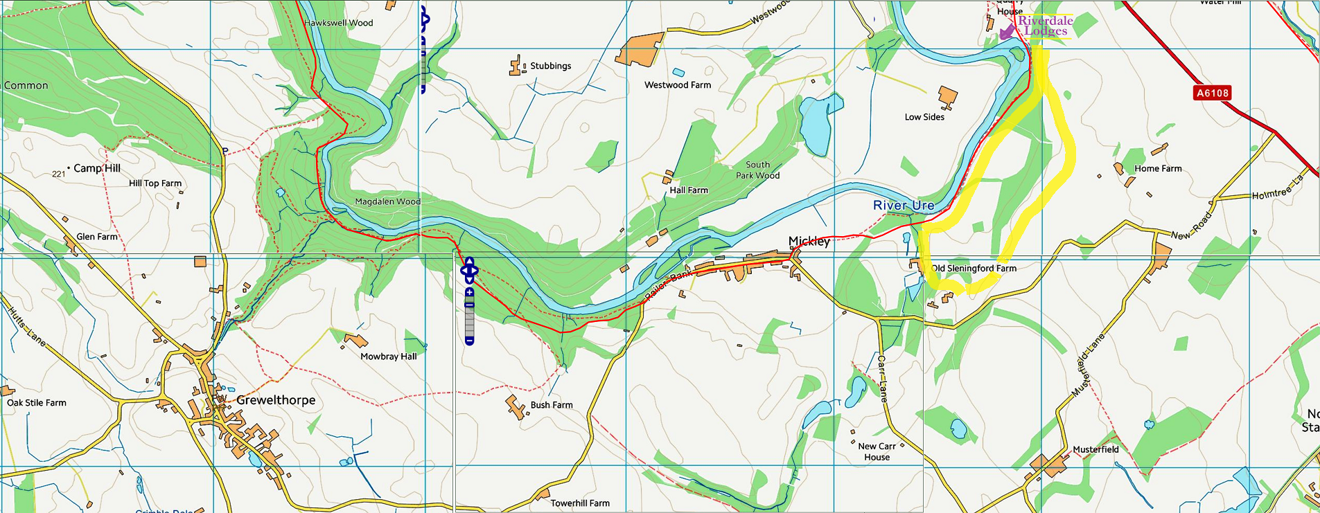The red track along the river forms part of a famous long distance trail, the Ripon Rowel Walk and we marked Riverdale Lodges in the top right section of this map. The walk described above, covers only the area marked in yellow, and you can see it is just a tiny part of the huge walking possibilities. If you're up for more, then it will take close to 3 hours (one-way) to follow the path along the river all the way to the enchanting Hackfall with grottos and glades, temple ruins and spectacular waterfalls. See also  https://www.woodlandtrust.org.uk/visiting-woods/wood-information/hackfall/  or the descriptions of  the walks at Hackfall . Luckily there are plenty of variations with a stop at a dog-friendly pub in Grewelthorpe and maybe call it a day and arrange a taxi for the way back? Or start the day with a short (taxi)drive (15 minutes) to the car park at Hackfall and walk all the way home?   Other strong favourites among our guests, that require just a quick hop in the car, are Brimham Rocks (a stunningly beautiful drive of 35 minutes), Studley Royal / Fountains Abbey (20 minutes by car) where especially the Seven Bridges Valley Walk is highly recommended, and a bit further away, to the other side of the A1, there is the historical railway over the North York Moors with a number of interesting walks linked to its stations. Click any of the pictures below to see the full package of information on their websites!