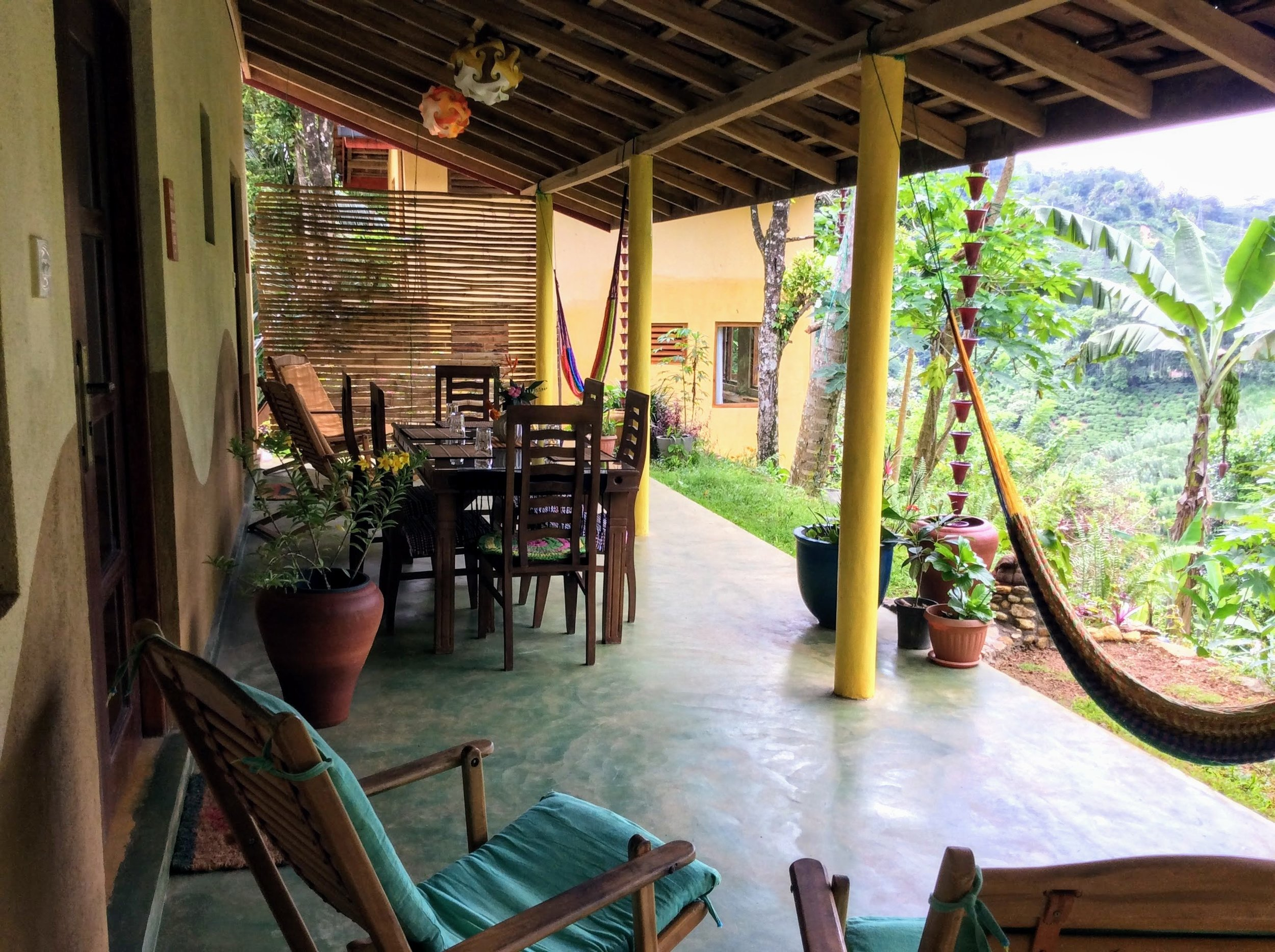 Valley View - Our two bedroom bungalow offers comfort and tranquility. Consisting of two bedrooms both with ensuite bathrooms and private entrances leading out on to a large veranda equipped with a dining table, hammocks and reclining chairs. Overlooking the tea plantations and ancient forests one can enjoy the views of the hills, birds and wildlife.