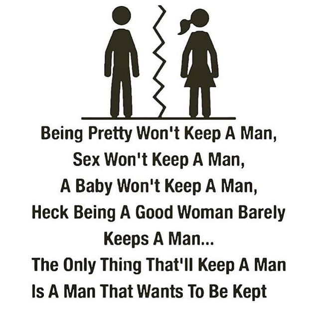 This is sooooo important for women to see !!!! We can't keep a man unless he wants to be kept. If you have just separated with someone and are blaming yourself DON'T!!!! You are enough and you will love again. Thank you @deepsthought #selflove #lovequotes #dumped #femaleempowerment