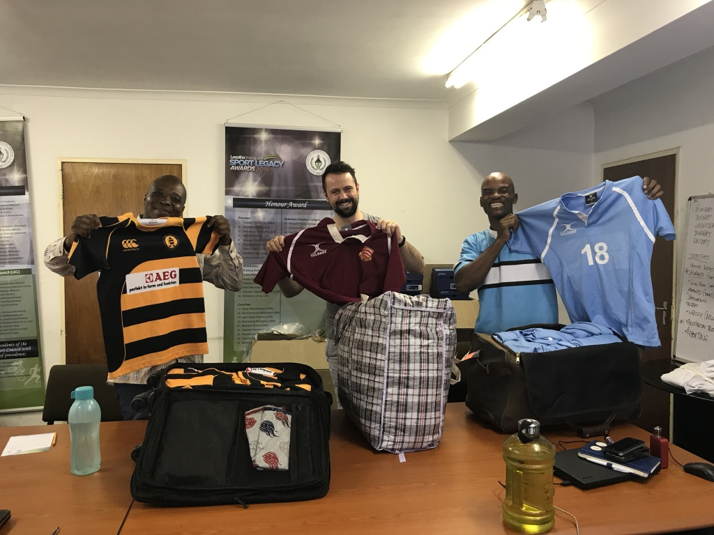 Handing over shirts donated by Bilericay RFC