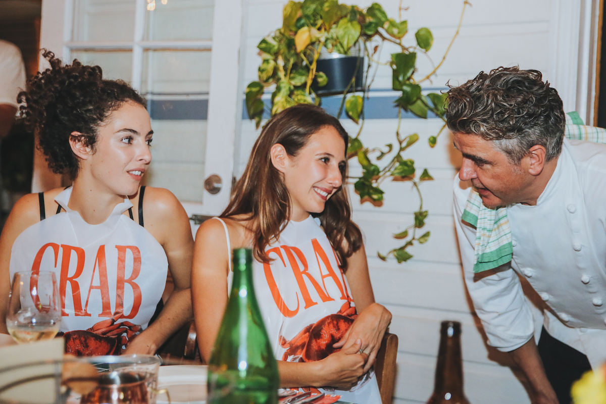 Edwina & Harriet speaking with chef Sean Connolly at the 2018 Crab Carnival launch.