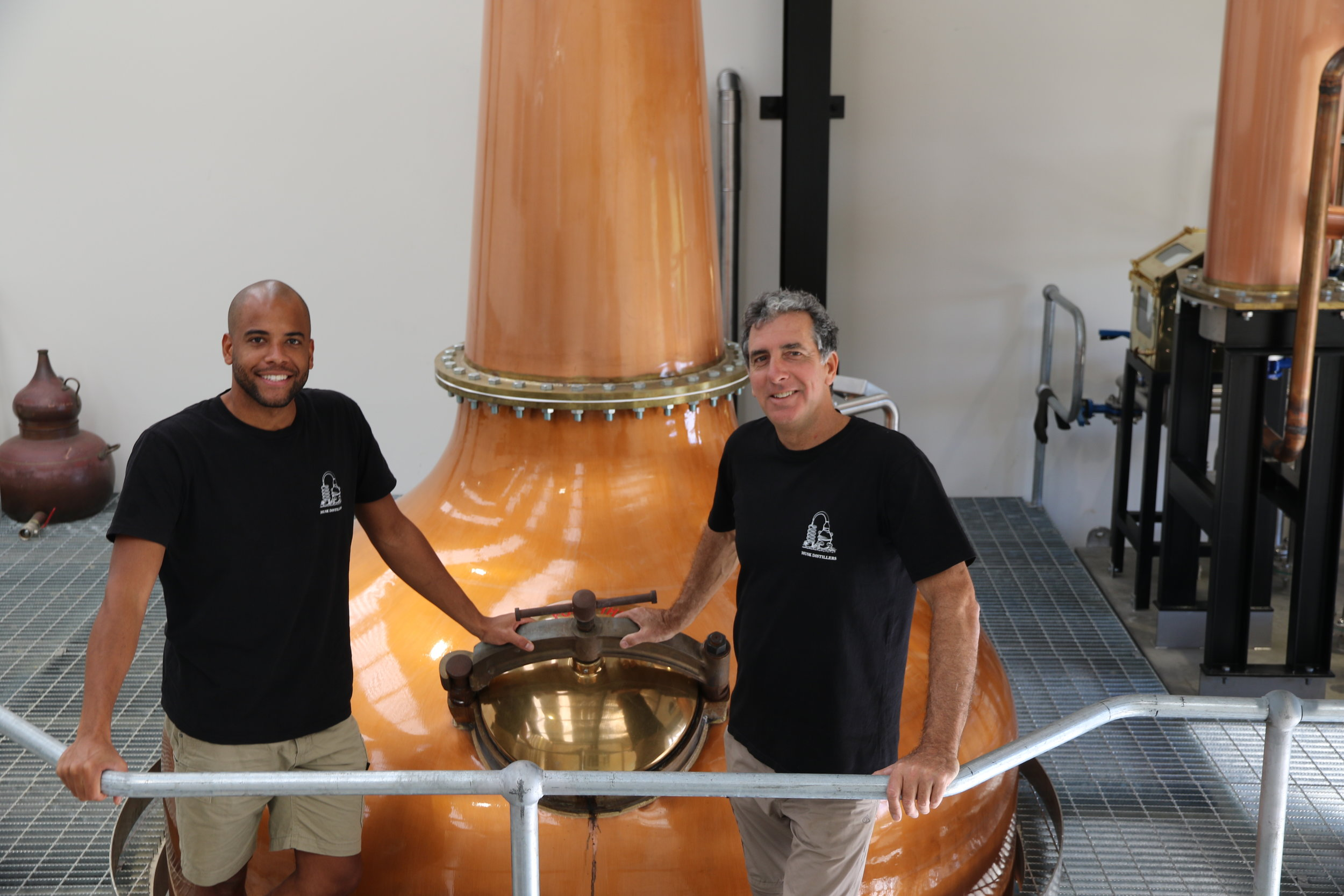 Quentin Brival and Founder Paul Messenger in front of Fat Bastard, the 6000L Forsyth still