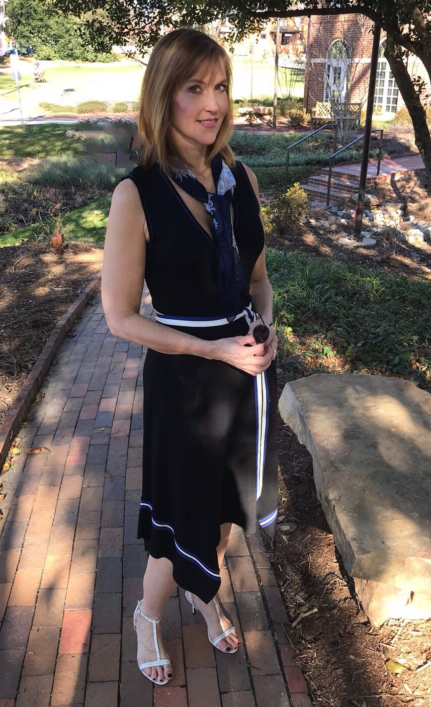 My Anthro dress with a YSL silk scarf - perfect for warm days!