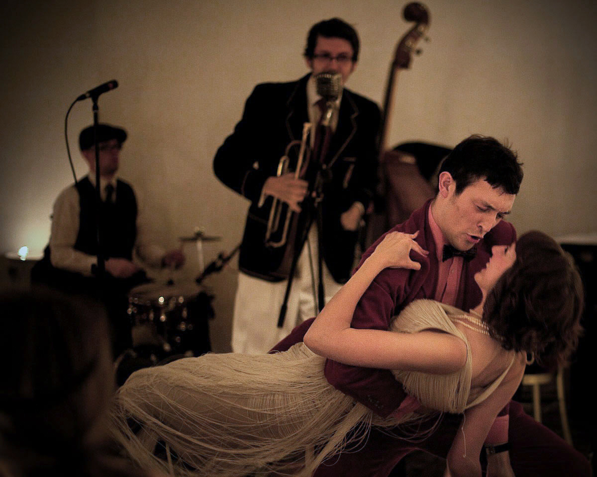 Couple dancing to jazz band the Shirt Tail Stompers