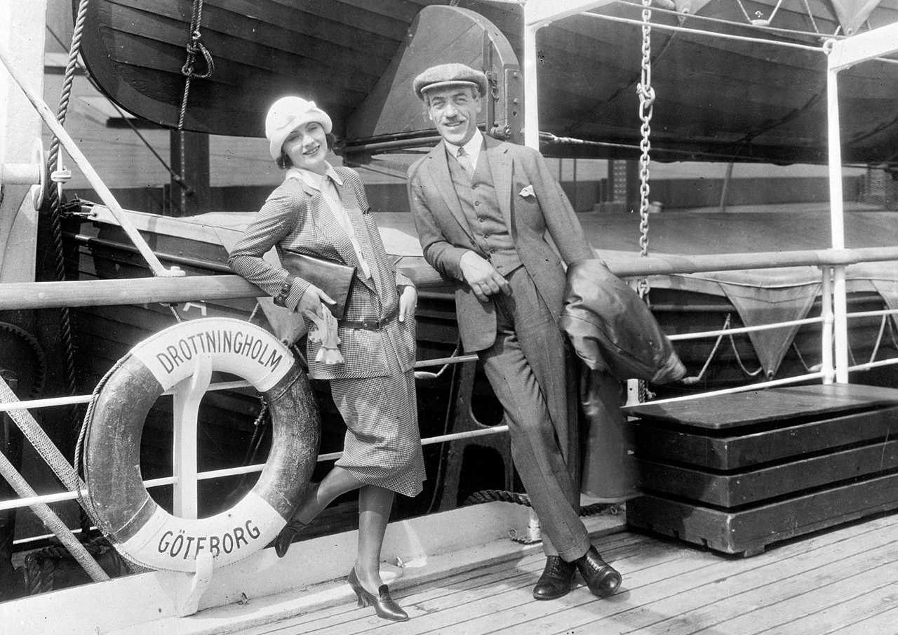 Greta Garbo and director Mauritz Stiller on the SS Drottingholm in 1926