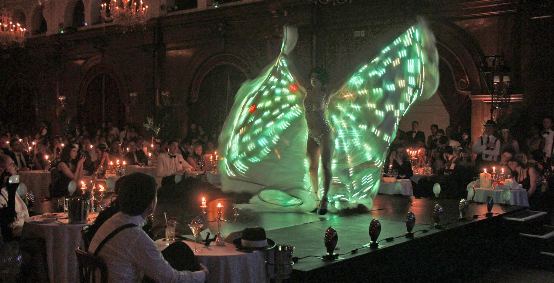 Vicky Butterfly's illuminated moth cape