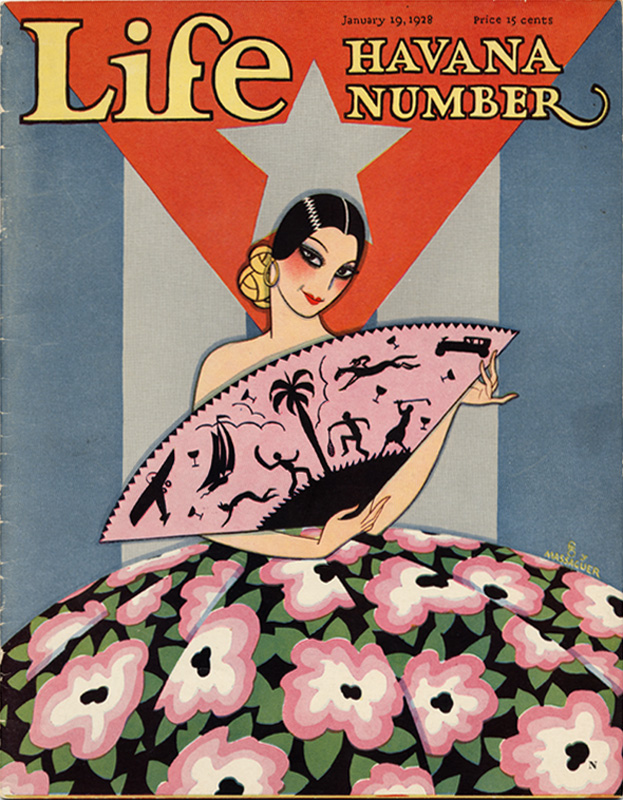 - Prohibition-era magazine cover tantalising with the delights of a holiday in Cuba—note all the cocktail glasses on the fan