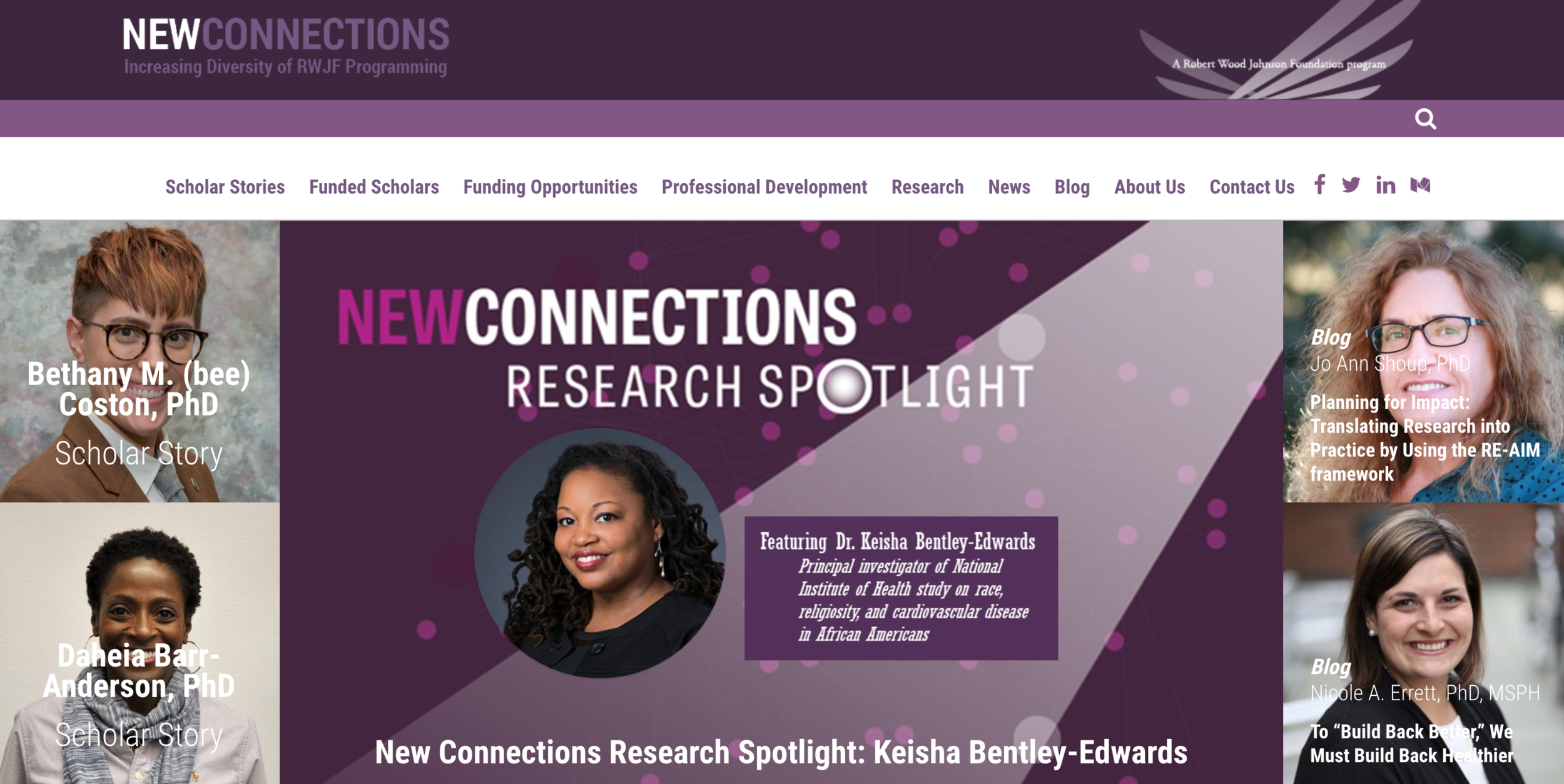 Robert Wood Johnson Foundation New Connections Research Spotlight - For more on my scholar story, click the image to the left.