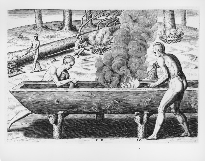 Inventing the canoe: The desire to travel by sea, the utilization of your own environment, working within your means, and patiently respecting the process. Could you make a canoe with an oyster shell, a tree trunk, and a hot coal?
