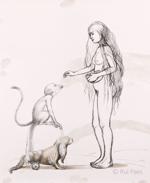 Girl Feeding Strawberries To A Monkey Observed By The Artist