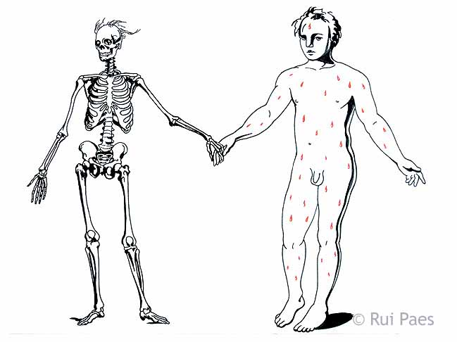 The Artist holding hands with Death