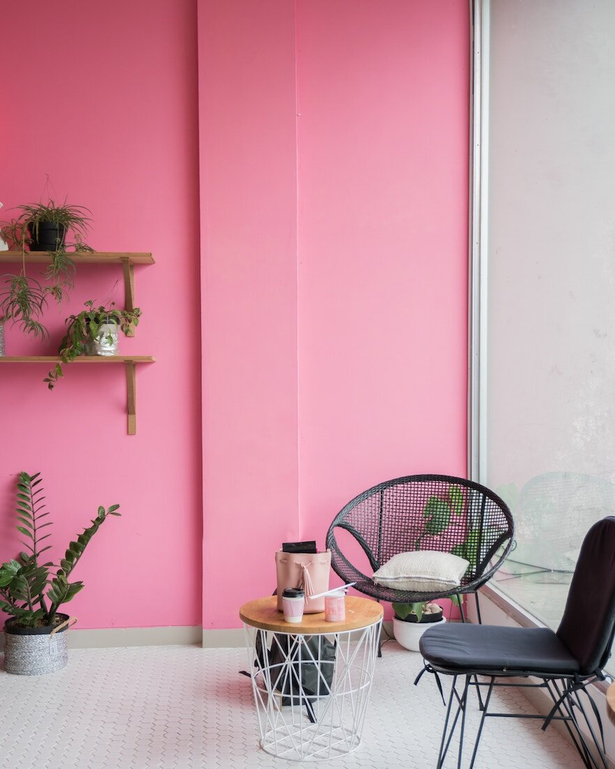 pink office chair plants nutrition consultation.jpg