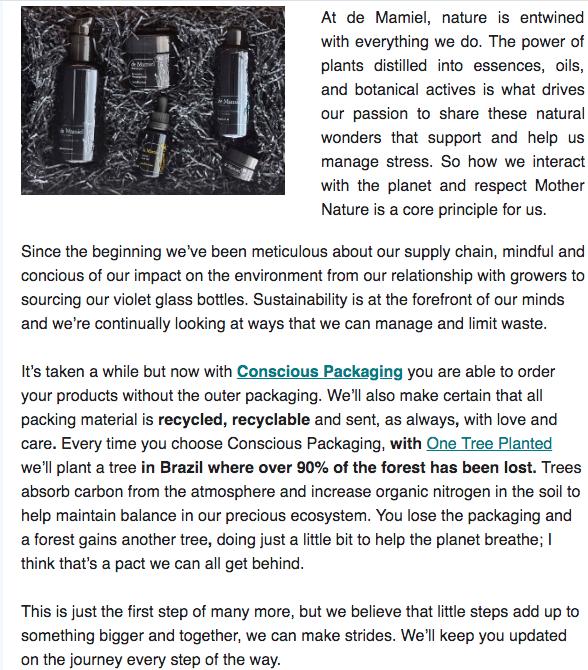 De Mamiel Conscious Packaging Newsletter