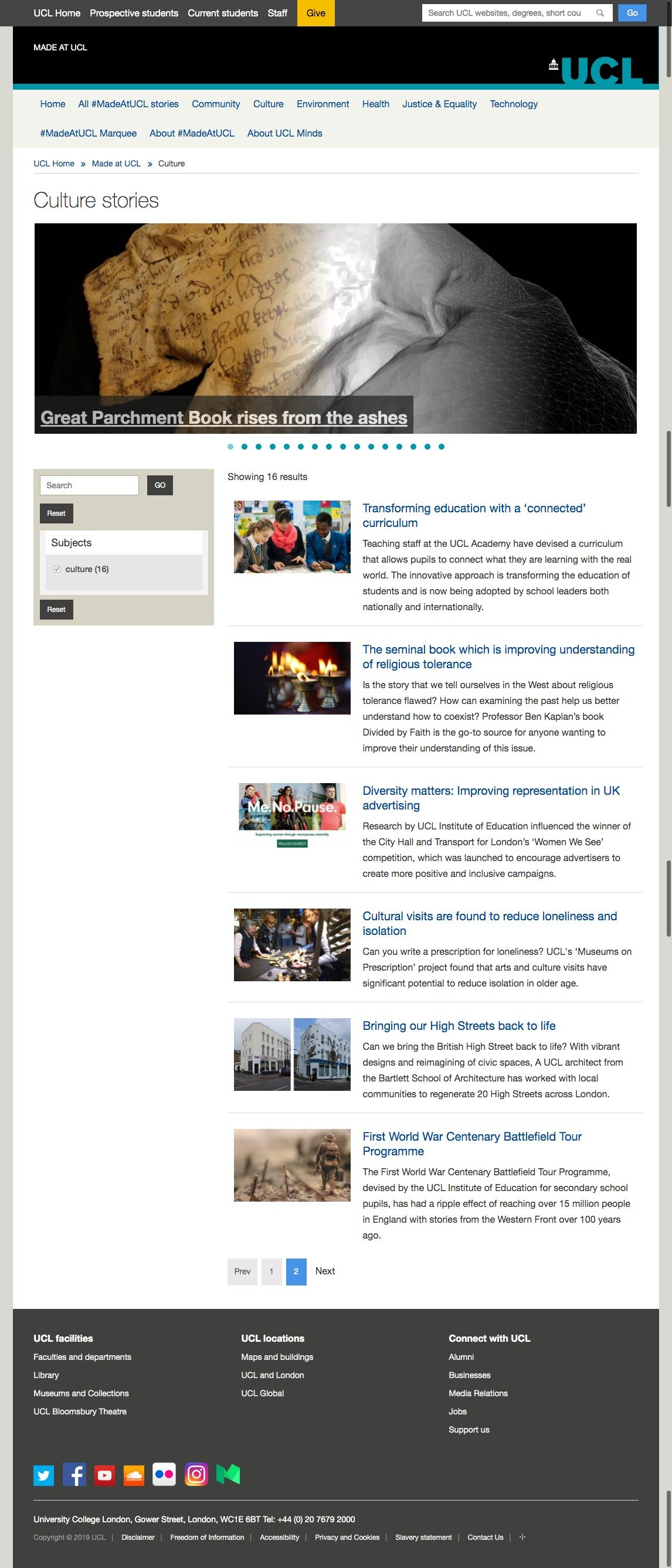 Culture stories  Made at UCL London's Global University