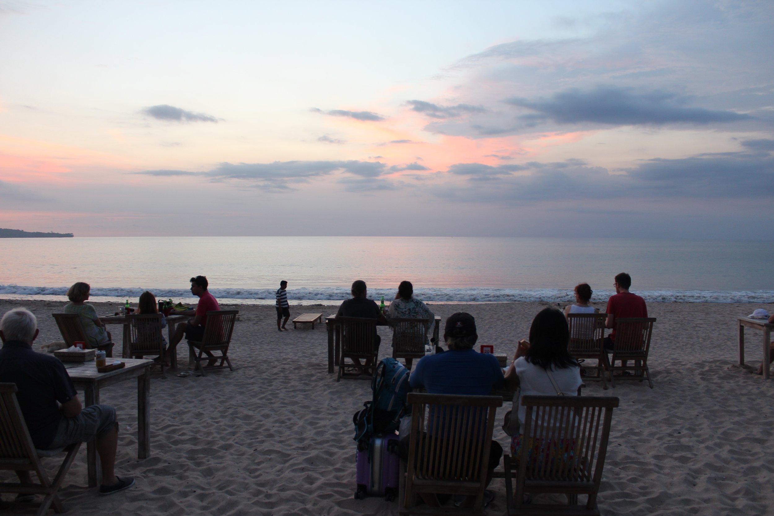 Sunset dining at Jimbaran Bay