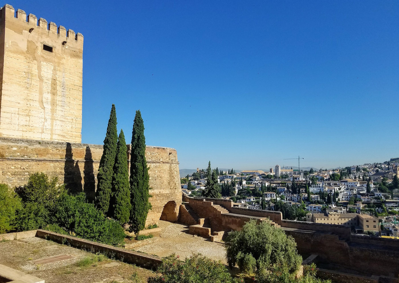 This view can be had without the price of admission to the surrounding buildings! One of the towers of the Alcazaba to the left.